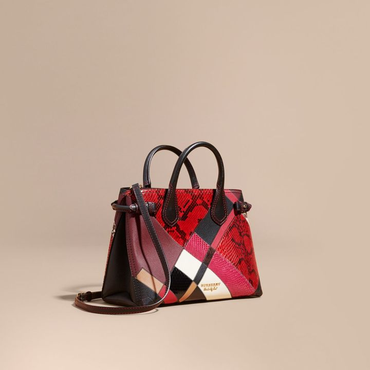 Burberry The Medium Banner in Patchwork Python and Leather