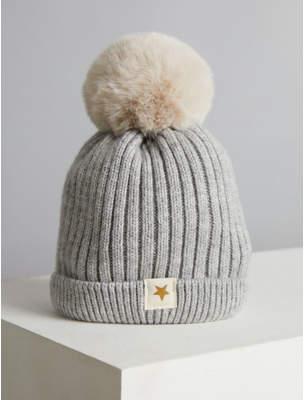 Bobble George Billie Faiers Grey Rib Knit Faux Fur Pom Pom Hat
