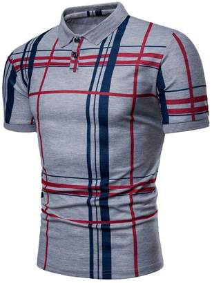 2cf2aec394c8 SYTX-men clothes SYTX Mens Summer Slim Short Sleeve Plaid Work Golf Polo  Shirts Tee