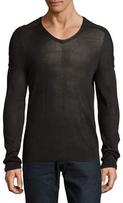 John Varvatos Plated V-Neck Sweater
