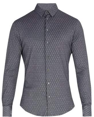 Giorgio Armani Single Cuff Diamond Print Cotton Shirt - Mens - Grey Multi