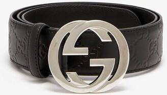 Gucci Signature Gg Logo Leather Belt - Mens - Black