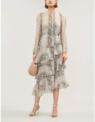 Zimmermann Ruffled tiered snake-print silk-georgette midi dress