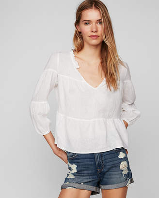 Express Deep V-Neck Linen Popover Blouse