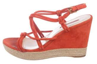 Prada Sport Suede Crossover Wedge Sandals