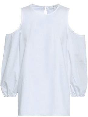 Tibi Cold-shoulder Cotton-poplin Top