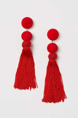 H&M Tasseled Earrings - Red