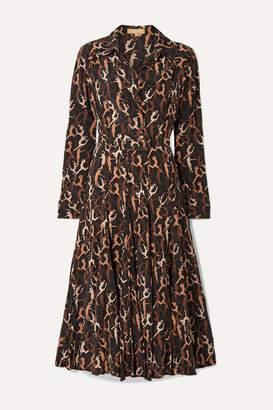 Michael Kors Pleated Printed Silk Crepe De Chine Midi Dress - Brown