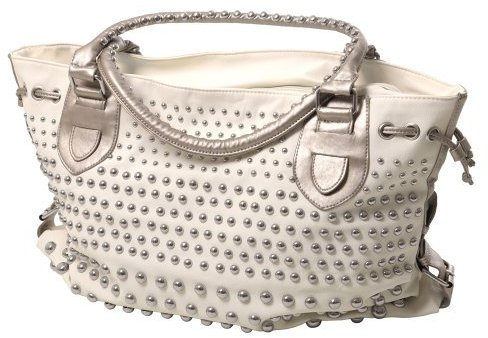Je Veux Double Handle Studded Tote Handbag - White