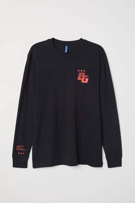 H&M Long-sleeved Shirt - Black/Blazing - Men