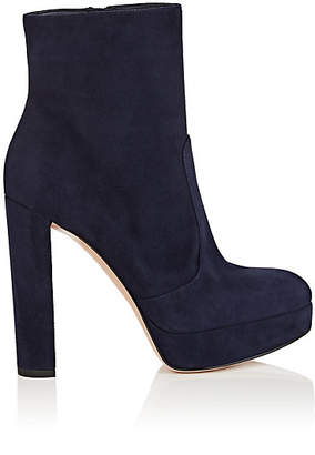Gianvito Rossi Women's Brook Suede Platform Ankle Boots - Navy
