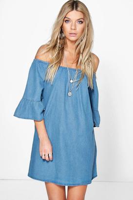 boohoo Lottie Ruffle Off The Shoulder Smock Denim Dress $44 thestylecure.com
