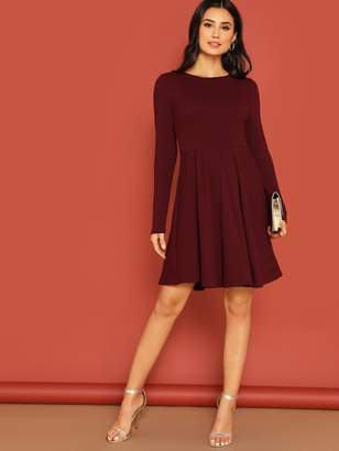 Shein High Waist Rib-knit Fit & Flare Dress