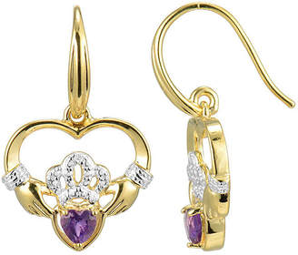JCPenney FINE JEWELRY Heart-Shaped Genuine Amethyst and Diamond-Accent Claddagh Earrings