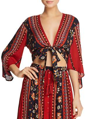 Band of Gypsies Floral-Print Tie-Front Top