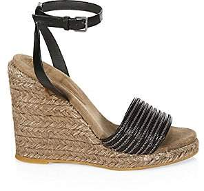 Brunello Cucinelli Women's Leather Ankle-Strap Wedge Espadrilles