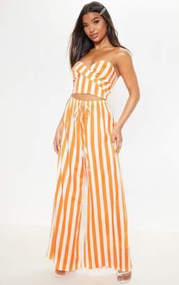 PrettyLittleThing Bright Orange Stripe Wide Leg Trouser