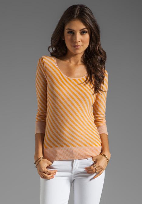 Sonia Rykiel SONIA by Striped Long Sleeve Shirt in Pink/Mango