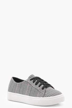 boohoo Girls Lace Up Check Print Trainer