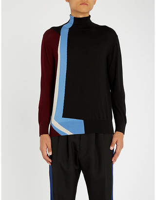 Marni Geometric-intarsia wool turtleneck jumper