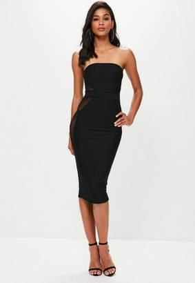 Missguided Black Mesh Insert Bandeau Bandage Midi Dress