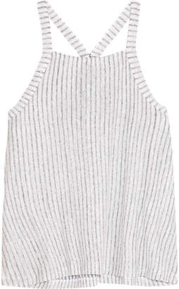 Splendid Striped Slub Linen And Cotton-blend Tank - Off-white
