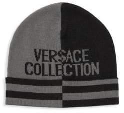 Versace Striped Two-Tone Logo Beanie