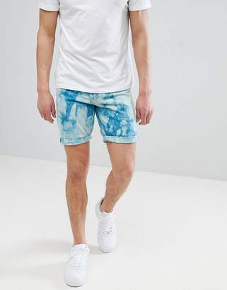 Asos DESIGN Denim Shorts In Slim Teal Tie-Dye