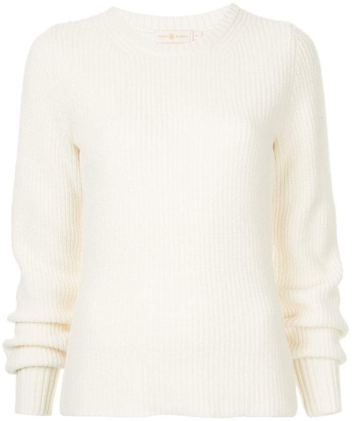 ribbed elongated sleeve sweater