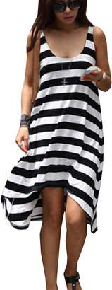 Qinol Lady Stripe Holiday Beach Cover up Slip Dress Sundress Mini Skirt