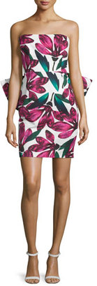 Milly Strapless Floral-Print Dress w/Oversized Bow, Fucshia $595 thestylecure.com