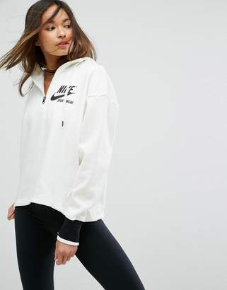 Nike Archive Half Zip Hoody In Cream