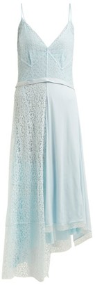 Balenciaga Asymmetric Tie Waist Lace Slip Dress - Womens - Light Blue