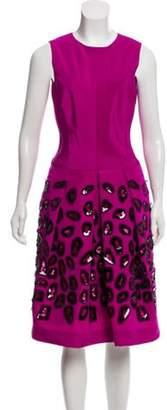 Oscar de la Renta Sleeveless A-Line Dress Purple Sleeveless A-Line Dress