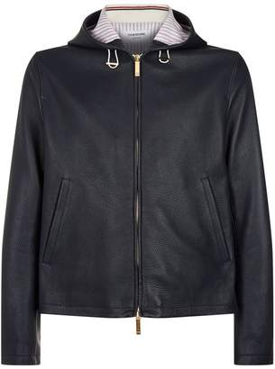 Thom Browne Leather Zip-Up Hoodie