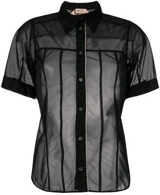 No.21 sheer button-down blouse