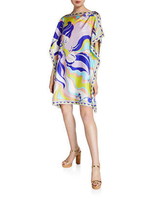 Emilio Pucci Boat-Neck Printed Silk Short Dress
