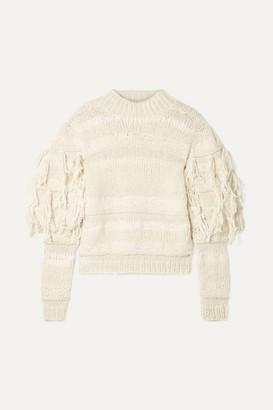 Ulla Johnson Delma Fringed Alpaca And Cotton-blend Sweater - Cream