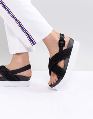 Monki Cross Strap Wedge Sandals