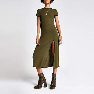 River Island Khaki short sleeve A line midi dress
