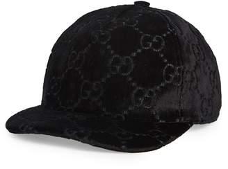 ... Gucci Logo Embroidered Velvet Baseball Cap ee851fce49ee