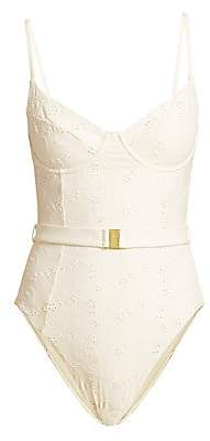 Onia Women's X WeWoreWhat Danielle Eyelet One-Piece Swimsuit
