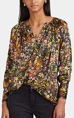 Co Women's Gathered Floral Silk Blouse