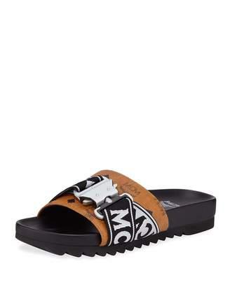 MCM Men's Weaving Buckle-Detail Slide Sandal