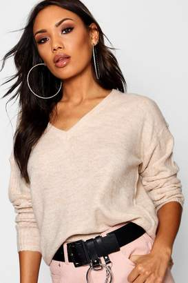 boohoo V Neck Slouch Jumper With Ribbed Sleeves