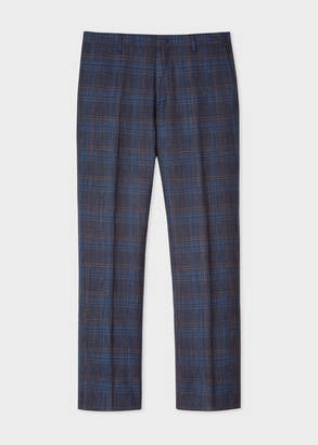 Paul Smith Men's Slim-Fit Navy Check Slub Wool And Silk-Blend Trousers