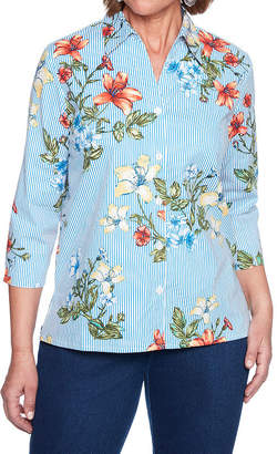 Alfred Dunner Out Of The Blue Womens Collar Neck 3/4 Sleeve Woven Blouse