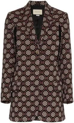 Gucci single breasted GG diamond jacquard wool blend blazer