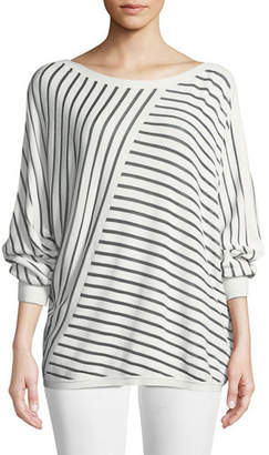 Lafayette 148 New York Matte Crepe Directional Striped Sweater, Plus Size