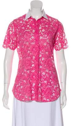Valentino Lace Button-Up Top Pink Lace Button-Up Top